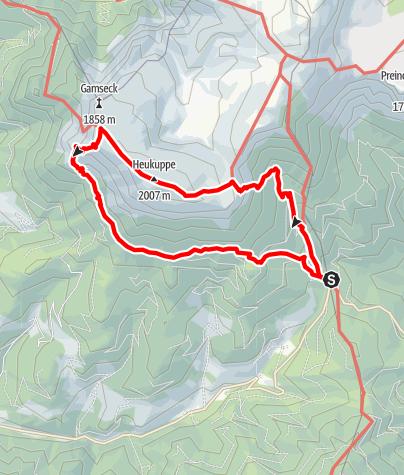 Mappa / Preiner Gscheid-KL Haus-Heukuppe-Gamseck via Karrer Alm und Reißecker Hütte zurück zum Preiner Gscheid