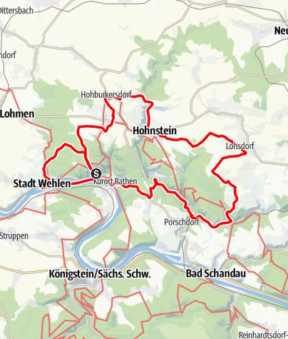 Karte / Radtour um die Bastei herum