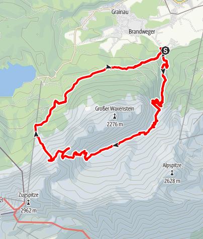 Karte / Südliche Riffelspitze (2.262m) - anspruchsvolle Rundtour im Wettersteingebirge mit Blick auf die Zugspitze
