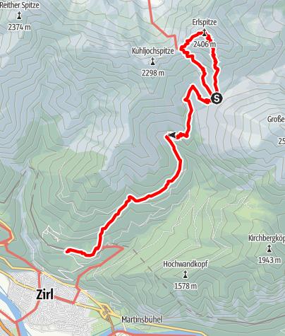 Karte / Erlspitze 2405m,  Karwendel 2