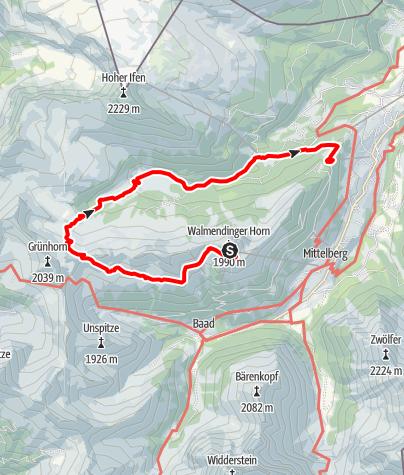 Karte / Tour 2. Juni 2018 Walmendingerhorn-Schwarzwasserhütte-Melköde-Auenhütte-Heuberg