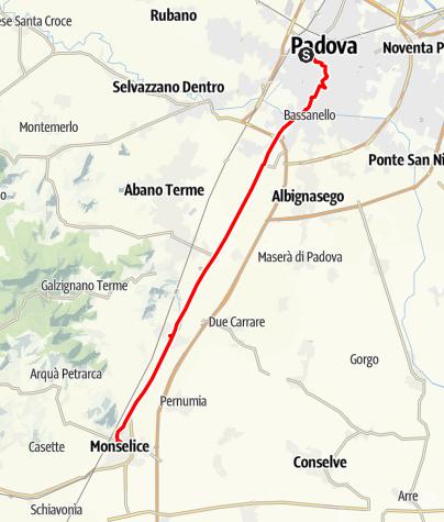 Karte / Graz - Rom 22 Padova-Monselice