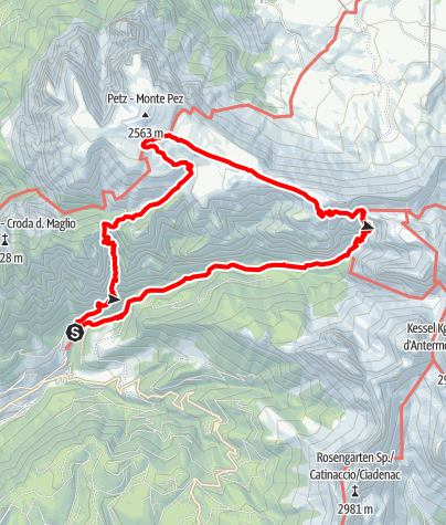 Karte / Anello Baerenfelle - Rif. Bolzano - Rif. Alpe di Tires