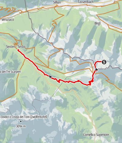 Karte / Stoneman Obstanserseehütte nach Sexten