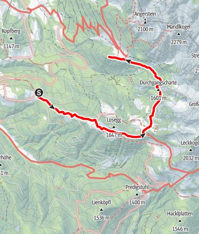 Karte / Aufstieg Körner-Hütte von Mauerreit
