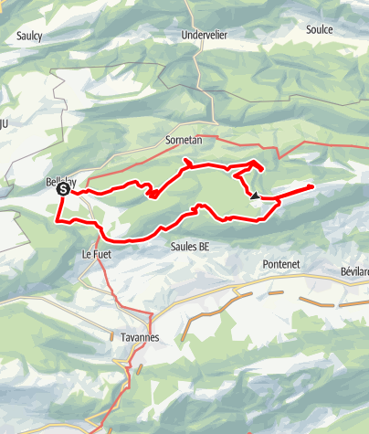 Map / PW Bellelay BE, 30 Km Strecke