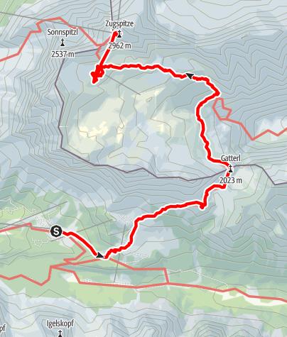 Karte / Wanderung Zugspitze übers Gatterl