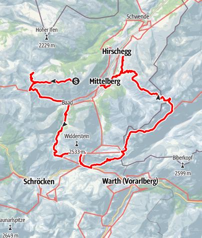 Mappa / Hüttentour UGM Kleinwalsertal 2.-5.9.18 Variante B