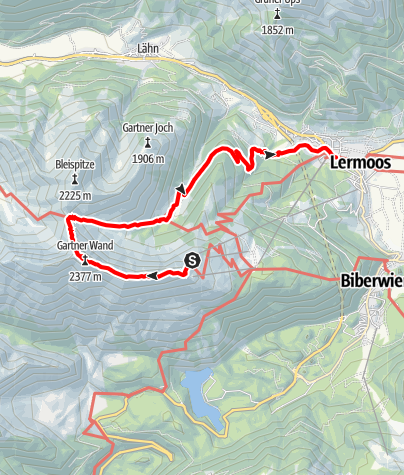 Karte / Überschreitung Grubigstein / Gartnerwand