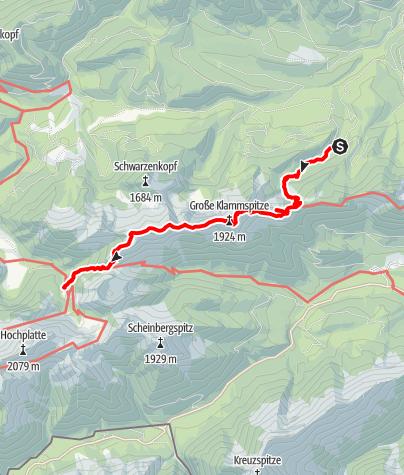 Karte / Über Brunnenkopf, Klammspitz und Feige zur Kenzenhütte