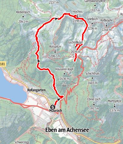 Karte / Maurach - Hochiss - Gschöllkopf - Erfurter Hütte