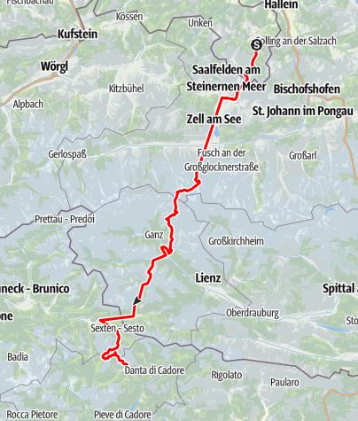 Karte / Alpenüberquerung vom Königssee zu den 3 Zinnen