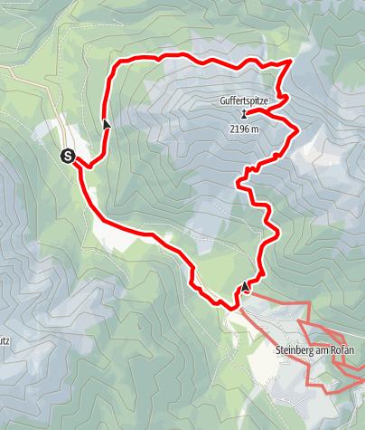 Karte / Guffert Rundtour  - über Nordanstieg hoch und Südanstieg runter