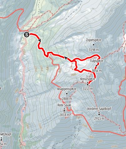 Karte / Kreuzspitze über Tulpspitze