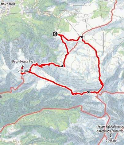 Karte / Schlern (Petz) und um die Rosszähne vom Spitzbühl
