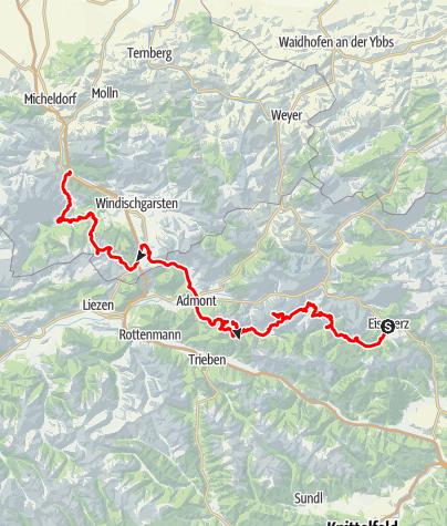 Karte / Nordalpenweg Peter und Brändy Teil 3 (geplant 2020): Eisenerz über Hochtor (Extratag/-tour), Sparafeld, Warscheneck bis Hinterstoder/St. Pankraz