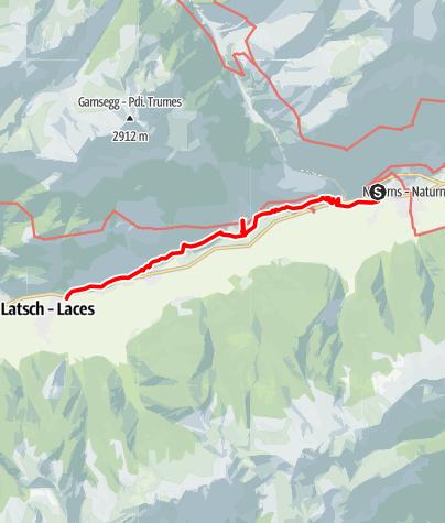 Karte / Bei und durch die Texelgruppe. Eine Rundwanderung in 7 Etappen. 7. Etappe: Linthof - Talstation der Latscher Bergbahn
