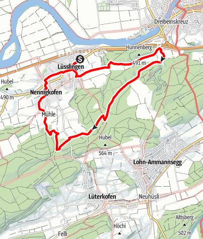 Map / PW Nennigkofen SO, 15 km Strecke