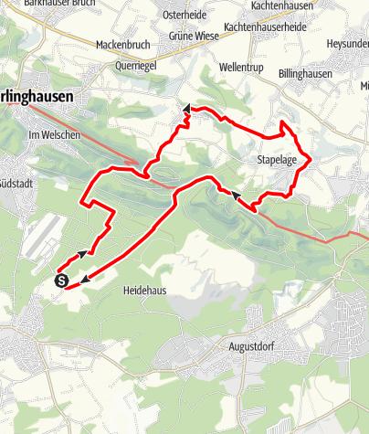 Karte / B+H-2018-10-25: Bokelfenner Senne -Währentrup - Hörste