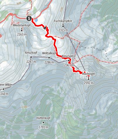 Karte / Auf den Hochvogel (2592m), Allgäuer Matterhorn