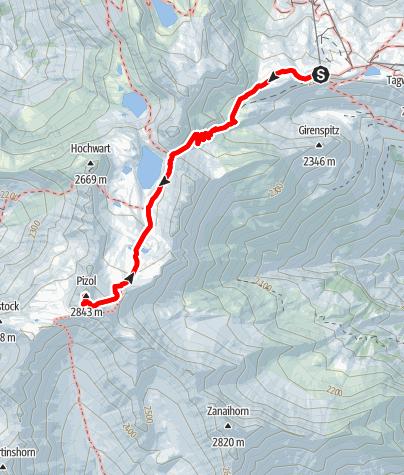 Karte / Auf den Pizol (2844m)