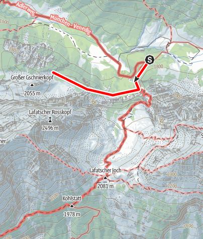 Karte / Klettergebiet am Lafatscher Sonneneck
