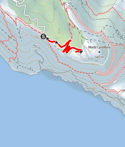 Karte / Bocca dei Cavalin (351 m) - Caserma (Forte) del M. Castellana (446 m)