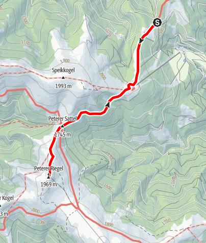 Karte / Vom Salzstieglhaus auf den Peterer Riegel