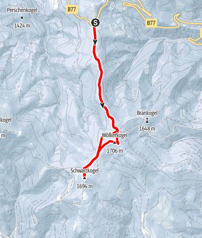 Karte / Schneeschuhspazieren zwischen Gaberl und Wölkerkogel