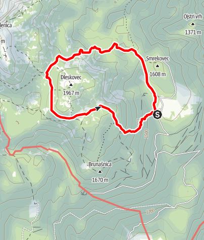 Karte / Easy round trail along Dleskovec plateau