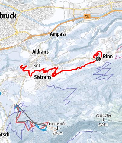 Karte / Langlauftour über drei Hügel von Rinn nach Mühlsee