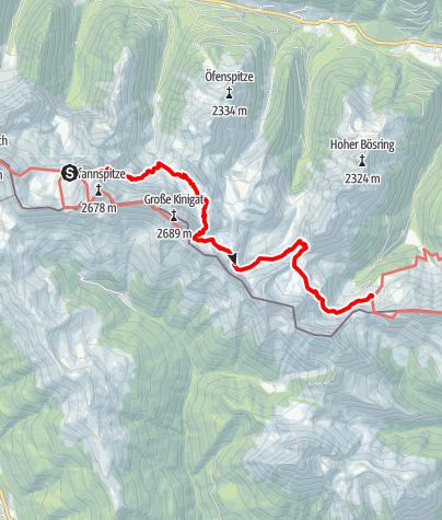 Karte / Transalp E29 Obstansersee-Hütte - Porzehütte