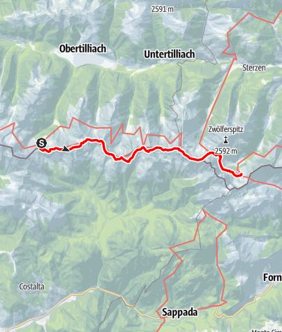Karte / Transalp E30 Porzehütte - Hochweisssteinhaus