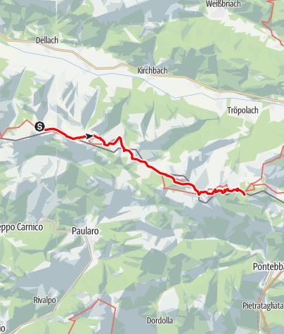 Karte / Transalp E33 Zollnersee Hütte - Nassfeldpass