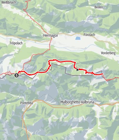 Karte / Transalp E34 Nassfeldpass - Feistritzer Alm