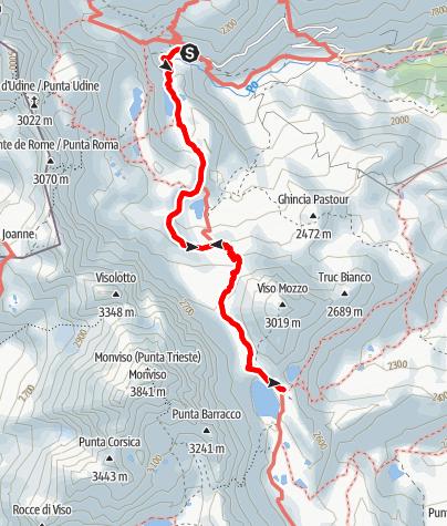 Karte / Pian del Re (2020 m) - Rif. Quintino Sella (2640 m)