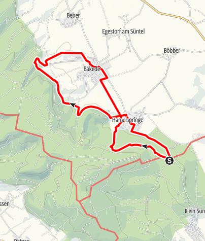 Karte / Von der Bergschmiede zum Weg der Sinne nach Bakede