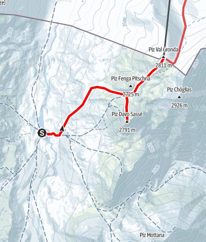 Karte / Piz Davo Sasse & Piz Val Gronda