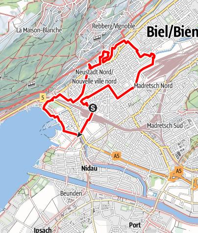 Map / PW Biel BE, 9 km Strecke