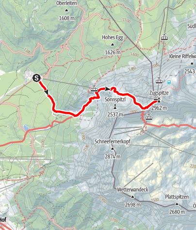 Karte / Über Wiener Neustädter Hütte und Stopselzieher auf die Zugspitze