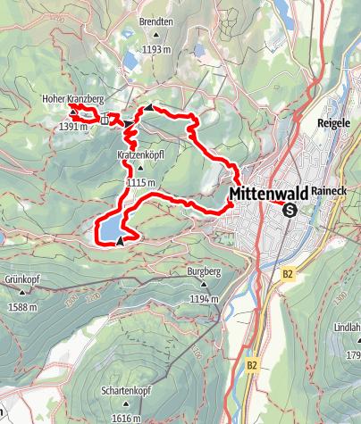 Karte / Easy Hiking Season Warm Up Tour: Hohen Kranzberg - Mittenwald