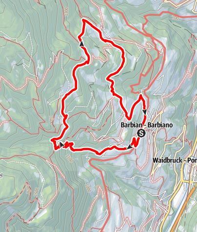 Karte / Rundwanderung Barbian -  Barbianer Wasserfälle - Briol - Bad Dreikirchen - Barbian