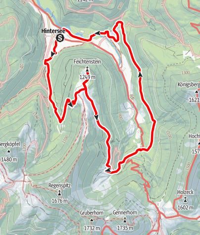 Karte / Hintersee - Feischtenstein - Gruberalm - Hintersee
