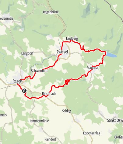 Karte / Tour Weißenstein - Rinchnach - Trinkwassertalsperre Frauenau - Lindberg - Zwiesel - Regen - Weißenstein