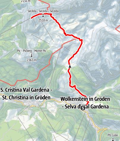 Karte / Seceda von Wolkenstein