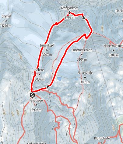 Karte / Großglockner (3.798 m) über Stüdlgrat