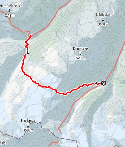 Karte / Venter Runde im UZS, Etappe 2: Martin-Busch-Hütte - Hochjochhospiz