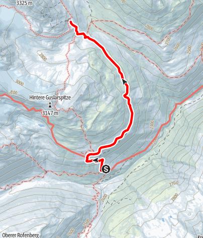 Karte / Venter Runde im UZS, Variante Etappe 3/4: Hochjochhospiz - Vernagthütte