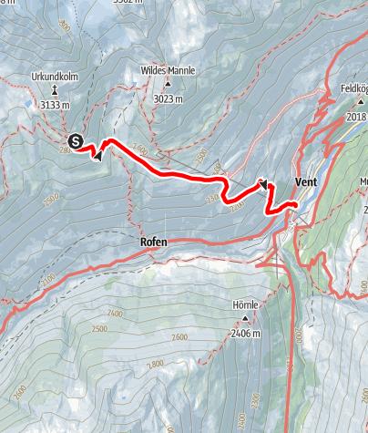 Karte / Venter Runde im UZS, Variante Etappe 6 (letzte): Breslauer Hütte - Vent