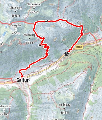 Karte / Von Piel über die Friedrichshafener Hütte nach Galtür